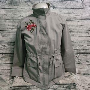 LOFT Ann Taylor Olive Green Military Floral Jacket